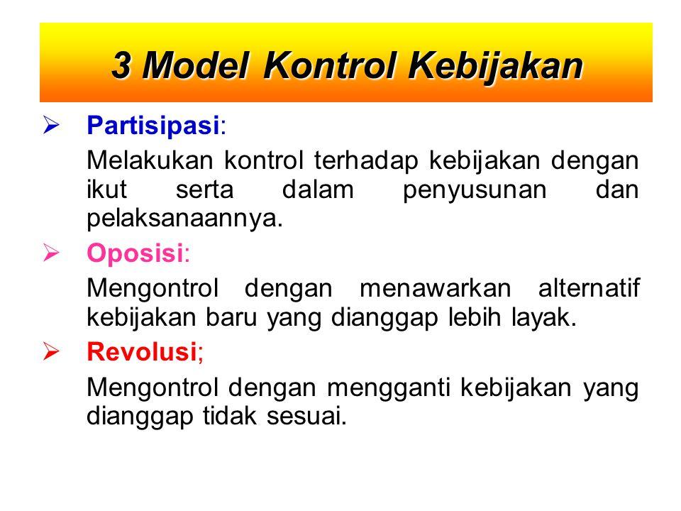  Partisipasi: Melakukan kontrol terhadap kebijakan dengan ikut serta dalam penyusunan dan pelaksanaannya.