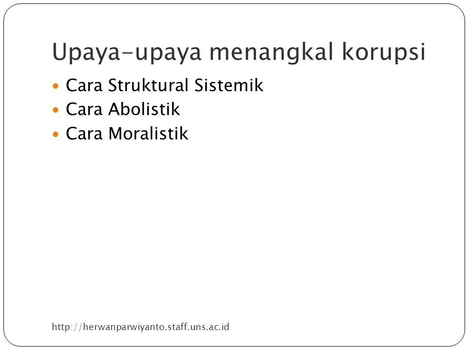 Upaya-upaya menangkal korupsi http://herwanparwiyanto.staff.uns.ac.id Cara Struktural Sistemik Cara Abolistik Cara Moralistik
