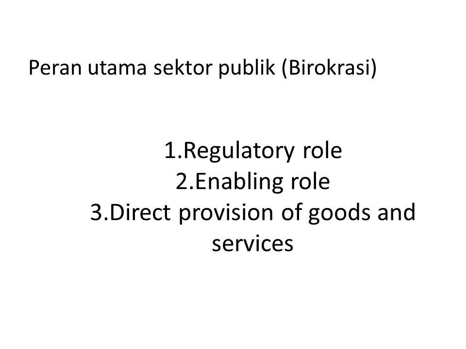 1.Regulatory role 2.Enabling role 3.Direct provision of goods and services Peran utama sektor publik (Birokrasi)