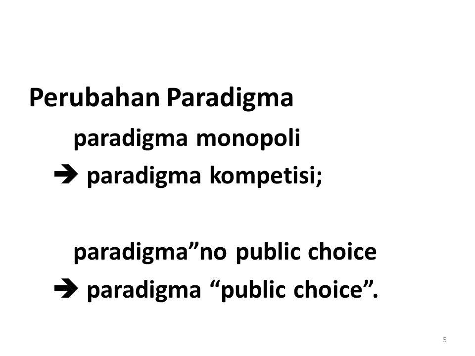 Perubahan Paradigma paradigma monopoli  paradigma kompetisi; paradigma no public choice  paradigma public choice .