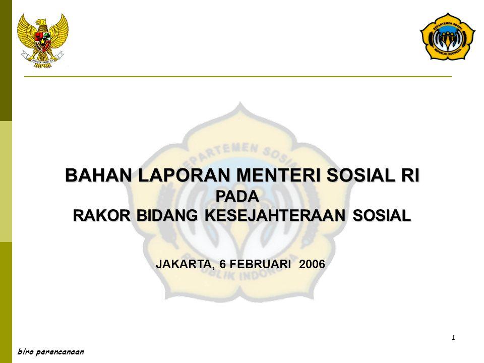 1 biro perencanaan BAHAN LAPORAN MENTERI SOSIAL RI PADA RAKOR BIDANG KESEJAHTERAAN SOSIAL JAKARTA, 6 FEBRUARI 2006