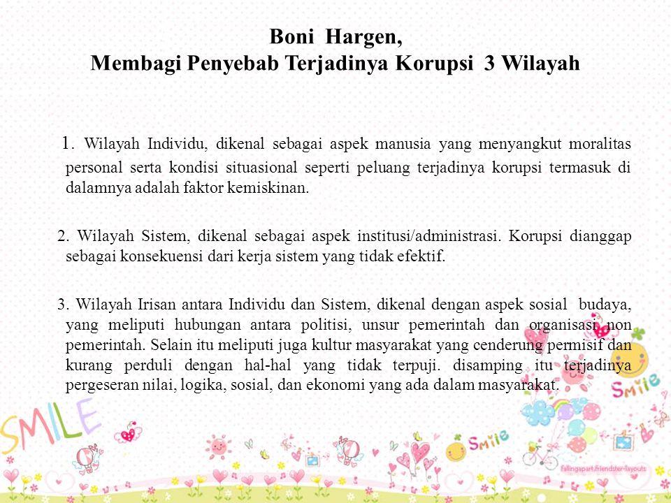 Boni Hargen, Membagi Penyebab Terjadinya Korupsi 3 Wilayah 1.