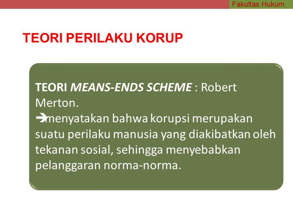 Fakultas Hukum TEORI PERILAKU KORUP TEORI MEANS-ENDS SCHEME : Robert Merton.