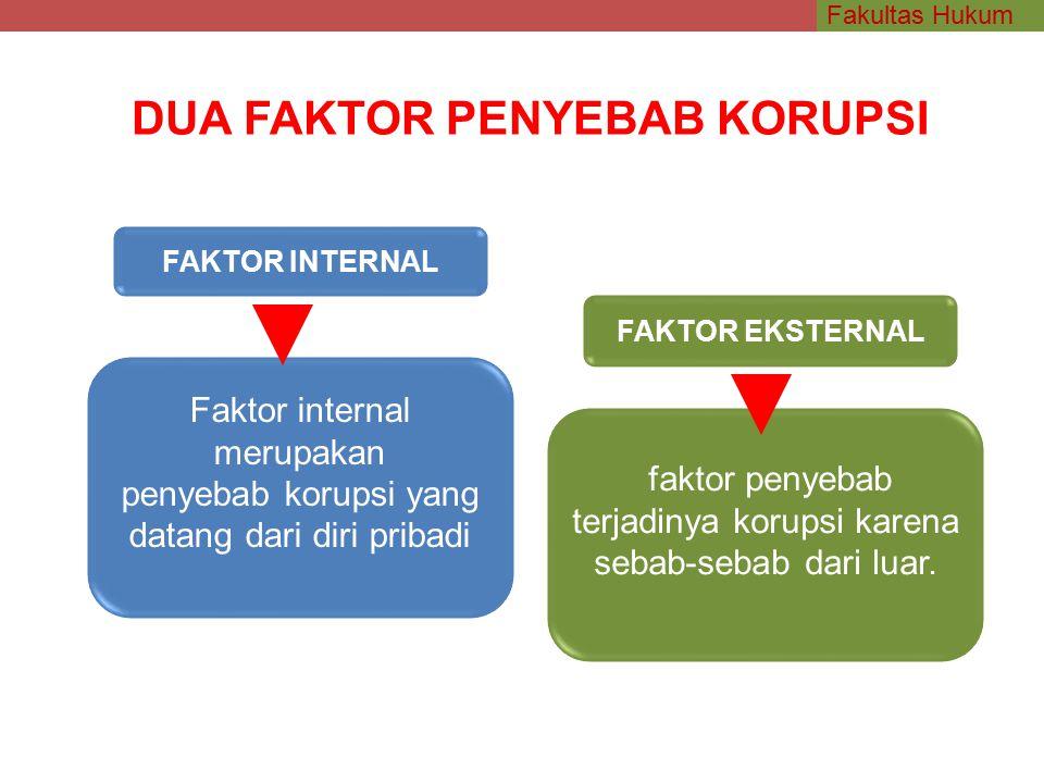 Fakultas Hukum Faktor internal merupakan penyebab korupsi yang datang dari diri pribadi faktor penyebab terjadinya korupsi karena sebab-sebab dari luar.