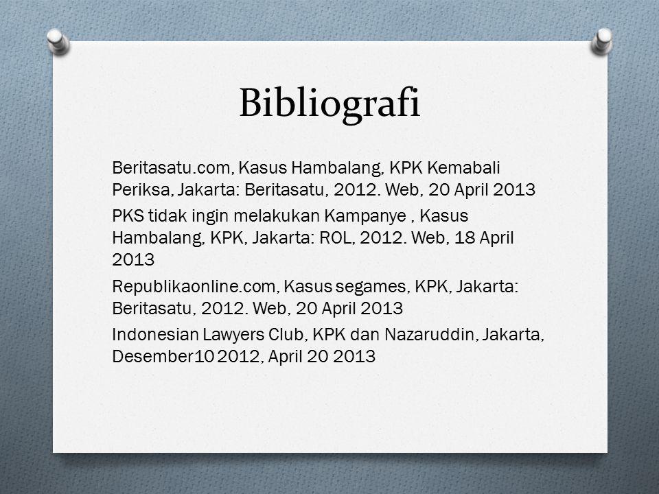 Bibliografi Beritasatu.com, Kasus Hambalang, KPK Kemabali Periksa, Jakarta: Beritasatu, 2012. Web, 20 April 2013 PKS tidak ingin melakukan Kampanye, K
