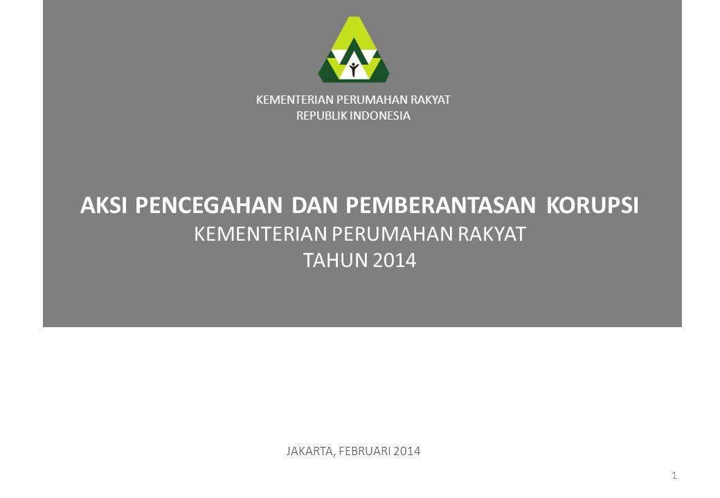 AKSI PENCEGAHAN DAN PEMBERANTASAN KORUPSI KEMENTERIAN PERUMAHAN RAKYAT TAHUN 2014 1 KEMENTERIAN PERUMAHAN RAKYAT REPUBLIK INDONESIA JAKARTA, FEBRUARI