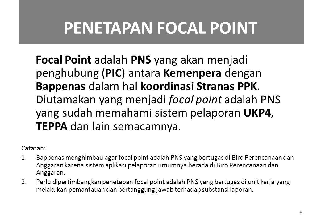 PENETAPAN FOCAL POINT Focal Point adalah PNS yang akan menjadi penghubung (PIC) antara Kemenpera dengan Bappenas dalam hal koordinasi Stranas PPK. Diu