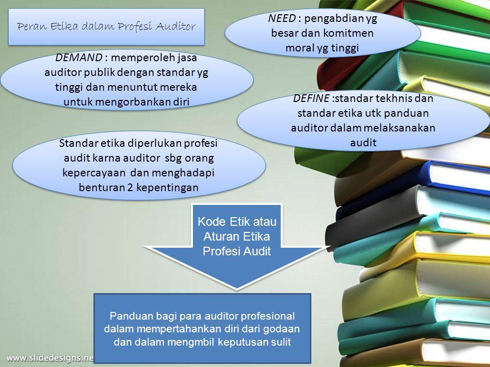 Peran Etika dalam Profesi Auditor NEED : pengabdian yg besar dan komitmen moral yg tinggi DEMAND : memperoleh jasa auditor publik dengan standar yg ti