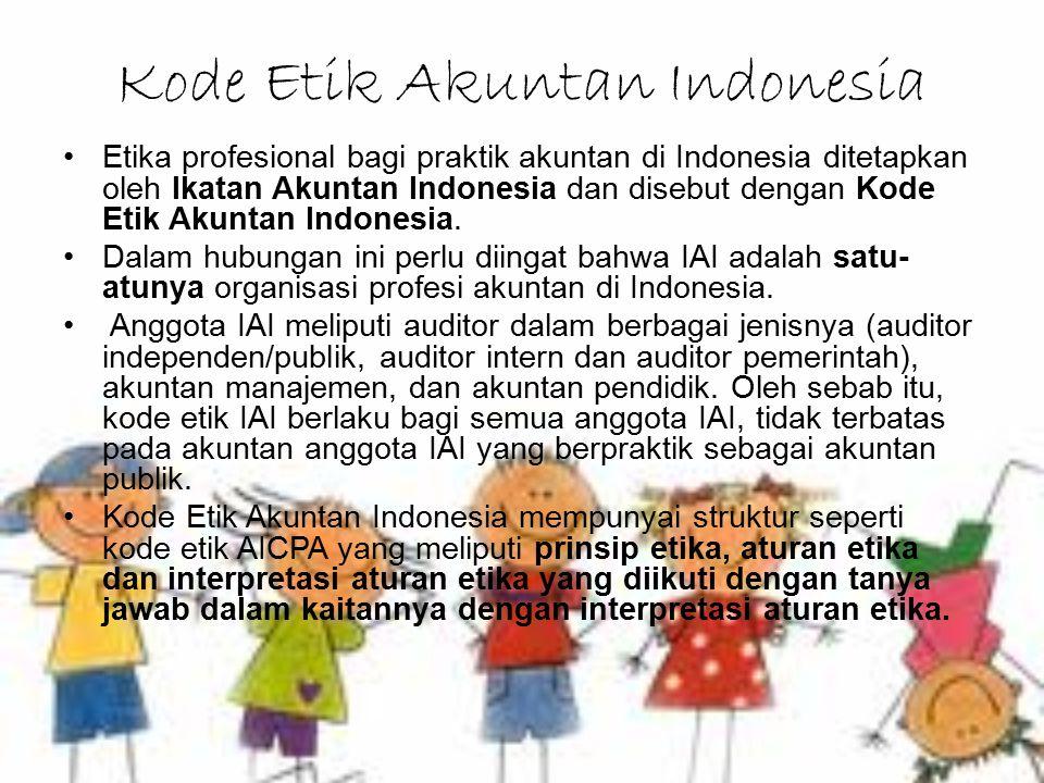 Kode Etik Akuntan Indonesia Etika profesional bagi praktik akuntan di Indonesia ditetapkan oleh Ikatan Akuntan Indonesia dan disebut dengan Kode Etik