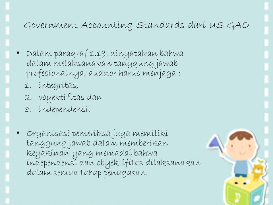 Government Accounting Standards dari US GAO Dalam paragraf 1.19, dinyatakan bahwa dalam melaksanakan tanggung jawab profesionalnya, auditor harus menj
