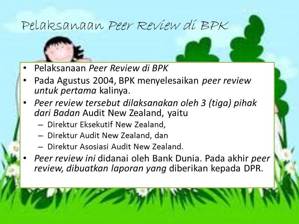 Pelaksanaan Peer Review di BPK Pada Agustus 2004, BPK menyelesaikan peer review untuk pertama kalinya. Peer review tersebut dilaksanakan oleh 3 (tiga)
