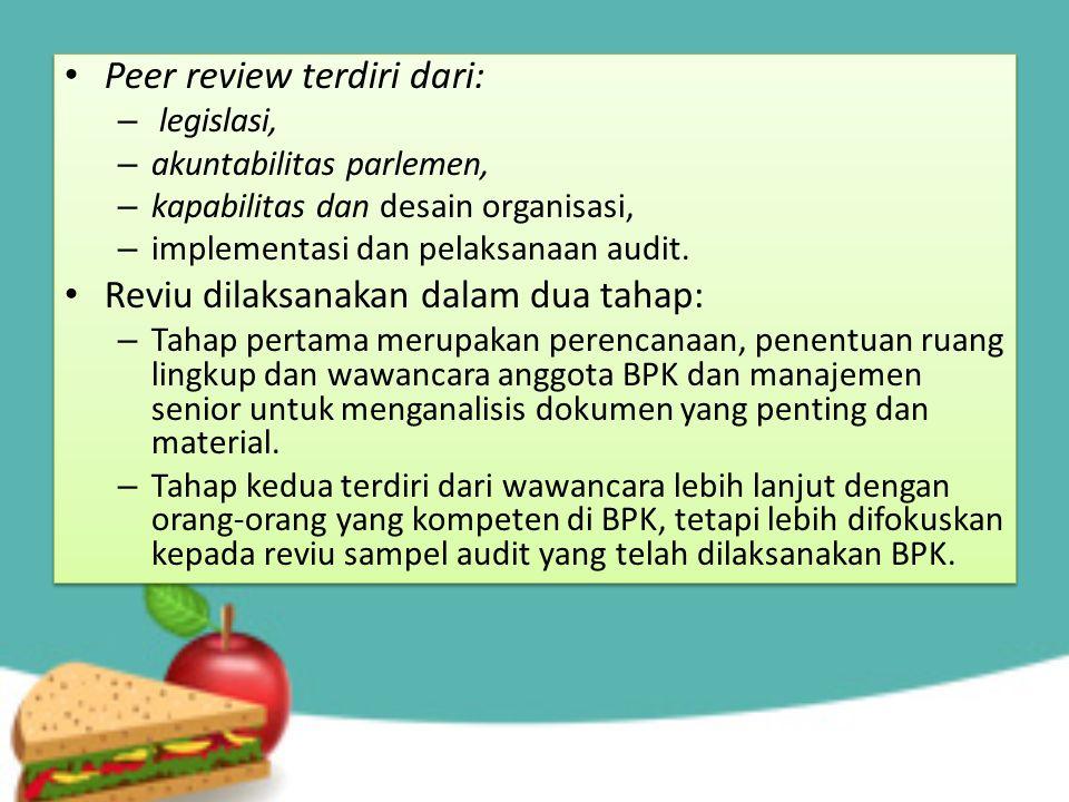 Peer review terdiri dari: – legislasi, – akuntabilitas parlemen, – kapabilitas dan desain organisasi, – implementasi dan pelaksanaan audit. Reviu dila