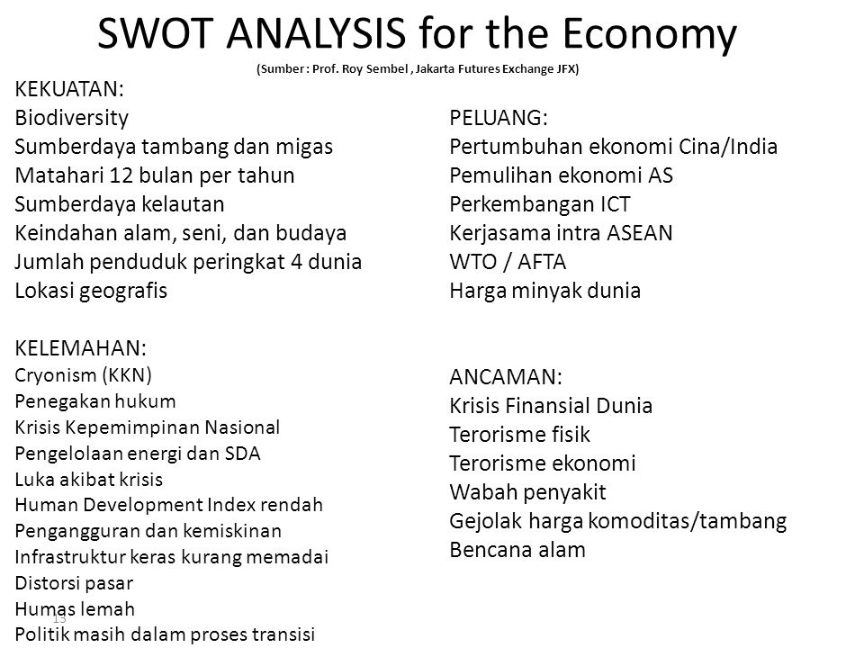 13 SWOT ANALYSIS for the Economy (Sumber : Prof. Roy Sembel, Jakarta Futures Exchange JFX) KEKUATAN: Biodiversity Sumberdaya tambang dan migas Matahar