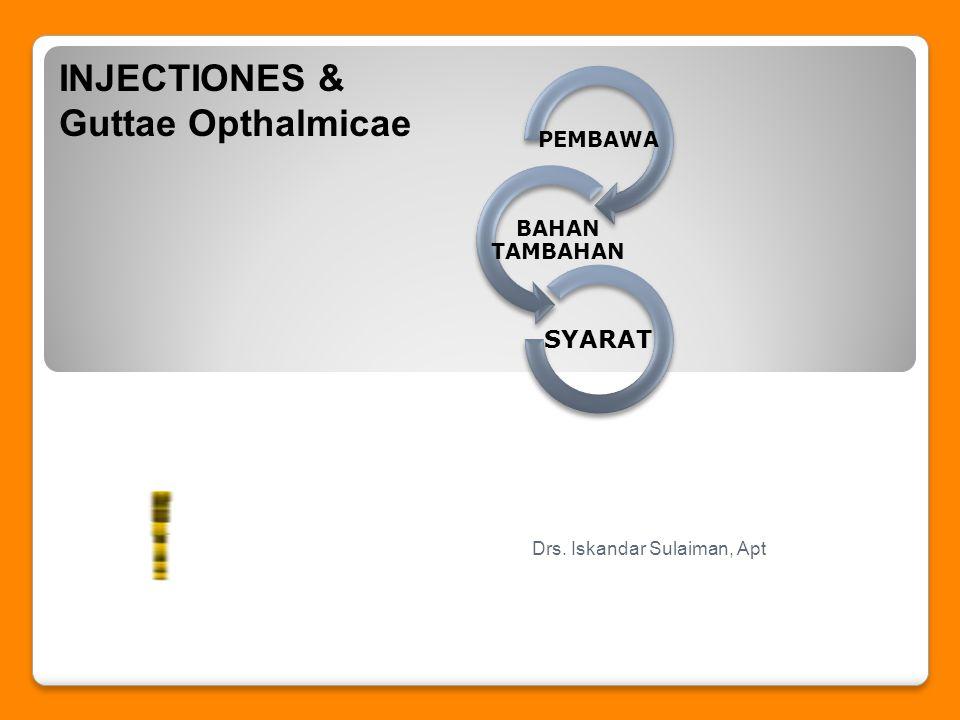 PEMBAWA BAHAN TAMBAHAN SYARAT INJECTIONES & Guttae Opthalmicae Drs. Iskandar Sulaiman, Apt