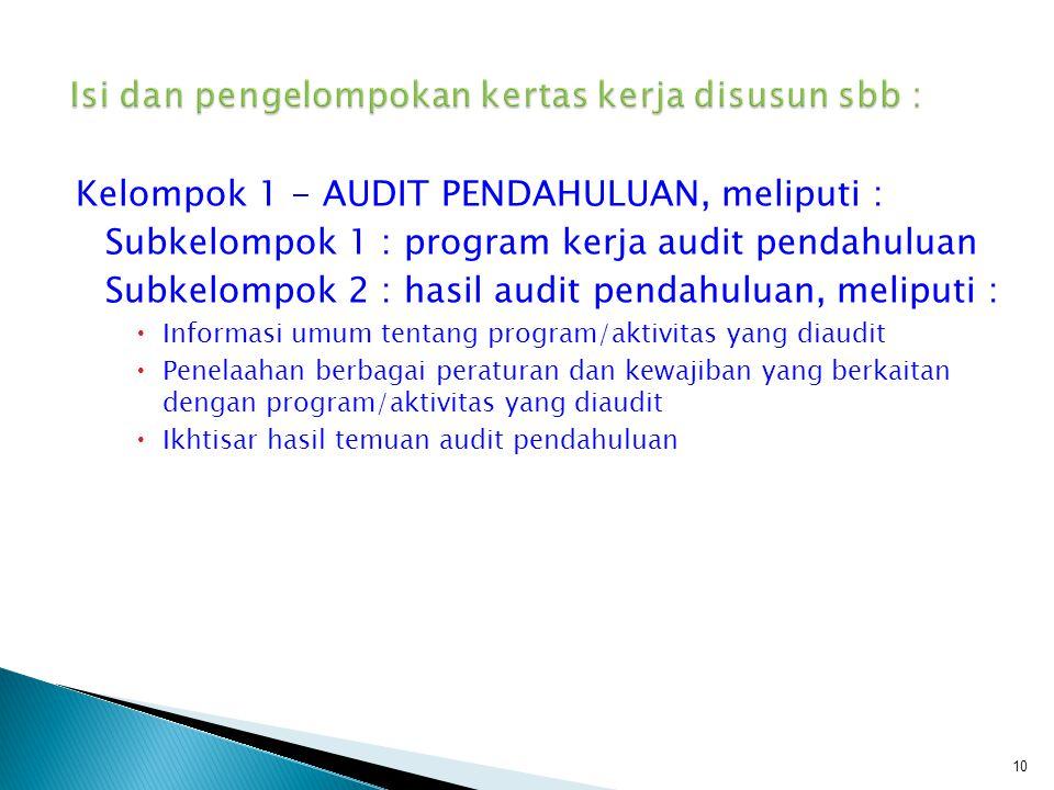 Kelompok 1 - AUDIT PENDAHULUAN, meliputi : Subkelompok 1 : program kerja audit pendahuluan Subkelompok 2 : hasil audit pendahuluan, meliputi :  Infor