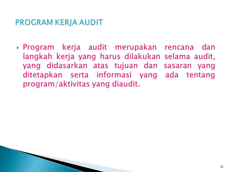  Program kerja audit merupakan rencana dan langkah kerja yang harus dilakukan selama audit, yang didasarkan atas tujuan dan sasaran yang ditetapkan s