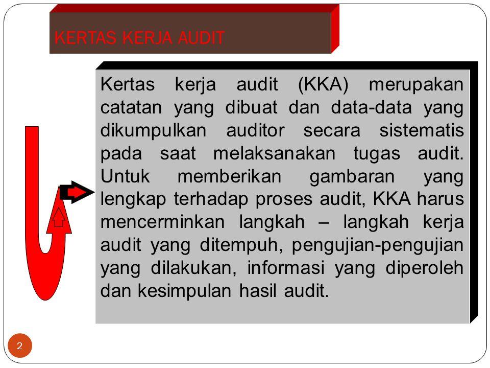 KERTAS KERJA AUDIT 2 Kertas kerja audit (KKA) merupakan catatan yang dibuat dan data-data yang dikumpulkan auditor secara sistematis pada saat melaksa
