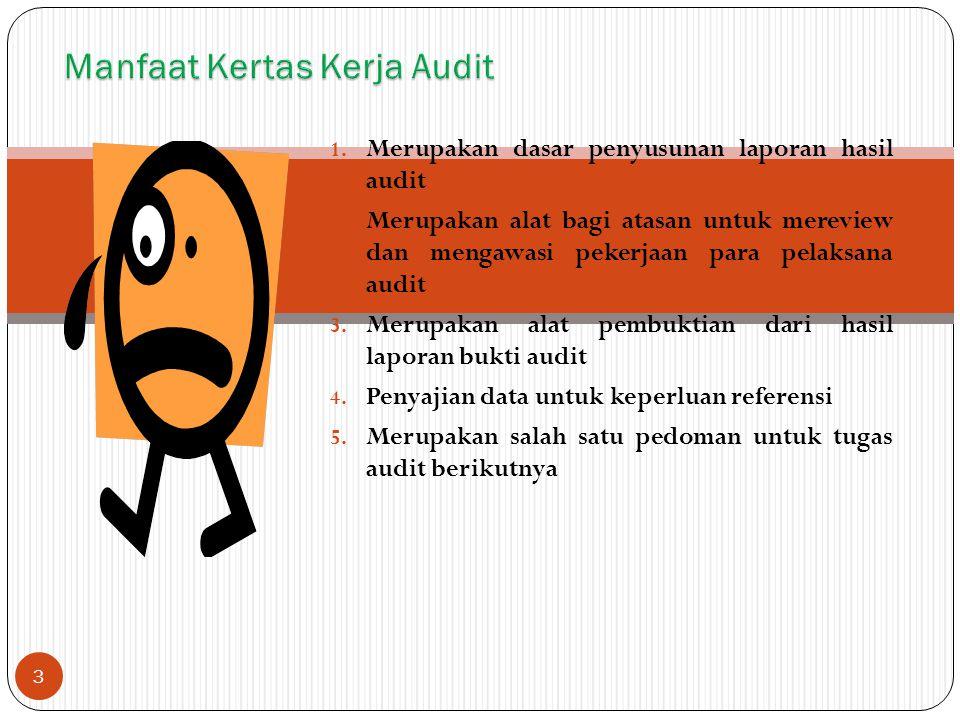 1. Merupakan dasar penyusunan laporan hasil audit 2. Merupakan alat bagi atasan untuk mereview dan mengawasi pekerjaan para pelaksana audit 3. Merupak