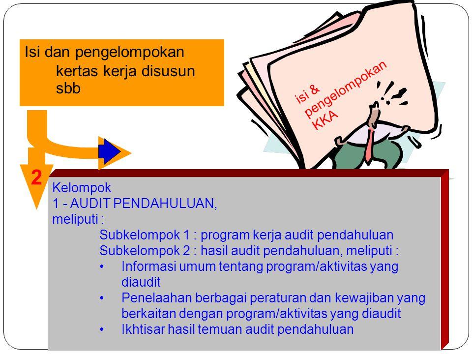 isi & pengelompokan KKA Isi dan pengelompokan kertas kerja disusun sbb Kelompok 1 - AUDIT PENDAHULUAN, meliputi : Subkelompok 1 : program kerja audit