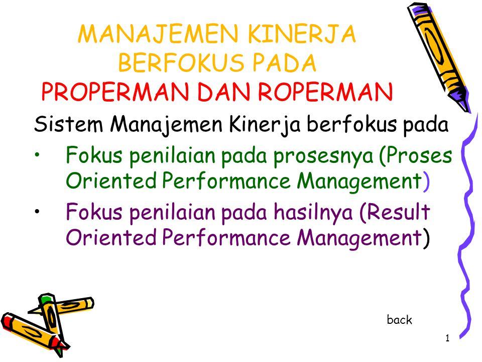1 MANAJEMEN KINERJA BERFOKUS PADA PROPERMAN DAN ROPERMAN Sistem Manajemen Kinerja berfokus pada Fokus penilaian pada prosesnya (Proses Oriented Perfor