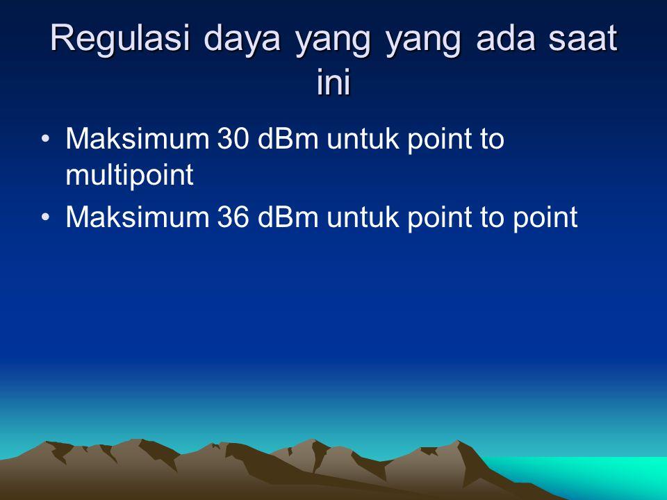 Regulasi daya yang yang ada saat ini Maksimum 30 dBm untuk point to multipoint Maksimum 36 dBm untuk point to point