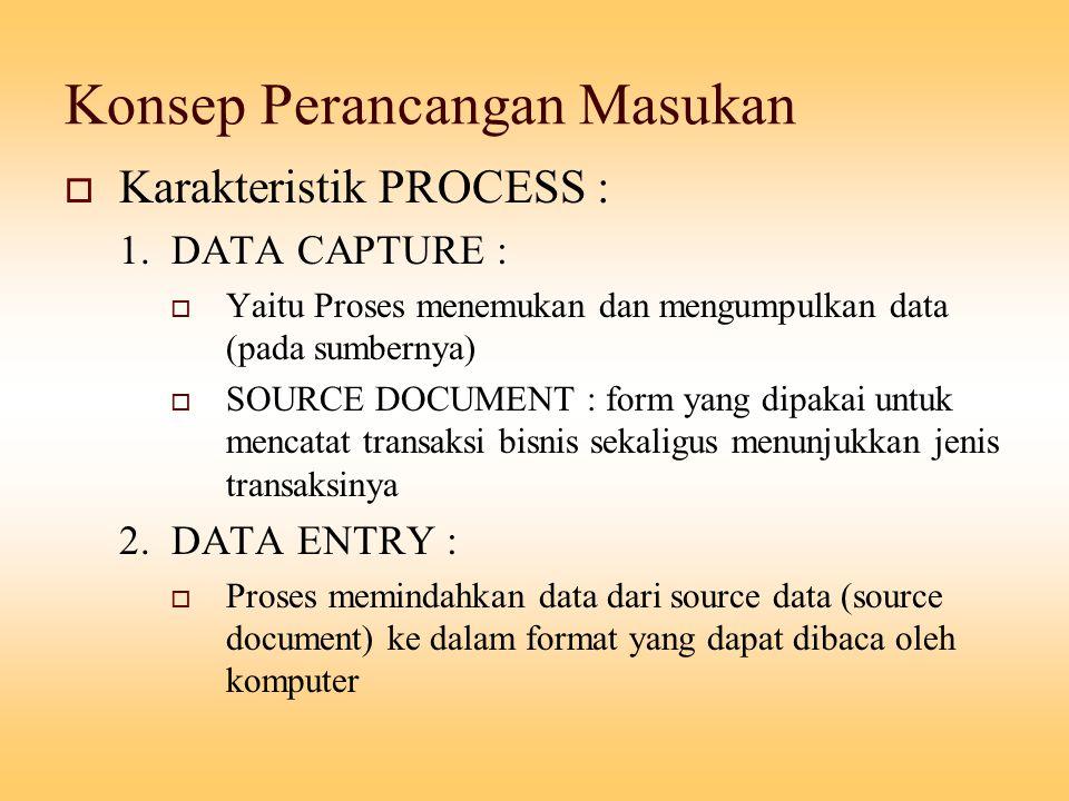 Konsep Perancangan Masukan  Karakteristik PROCESS : 1. DATA CAPTURE :  Yaitu Proses menemukan dan mengumpulkan data (pada sumbernya)  SOURCE DOCUME
