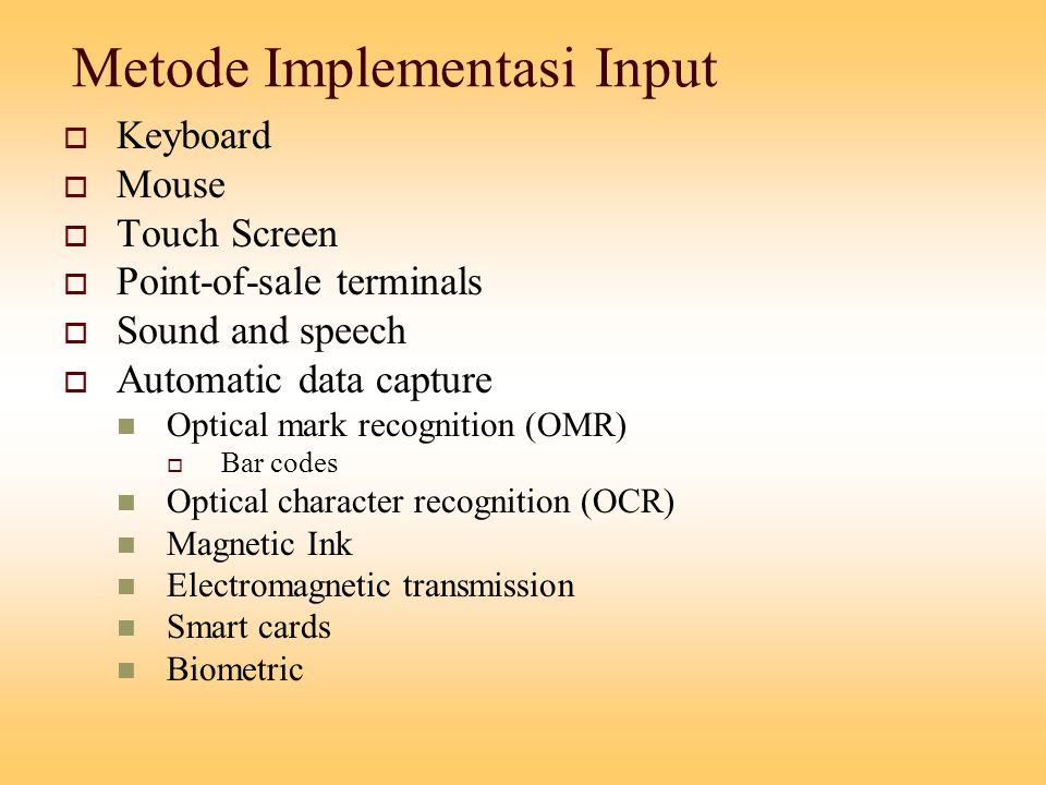 Metode Implementasi Input 1.Keyboard : data dimasukkan dengan menggunakan keyboard.