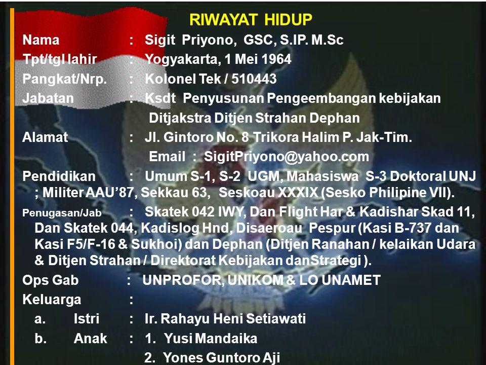 RIWAYAT HIDUP Nama : Sigit Priyono, GSC, S.IP.