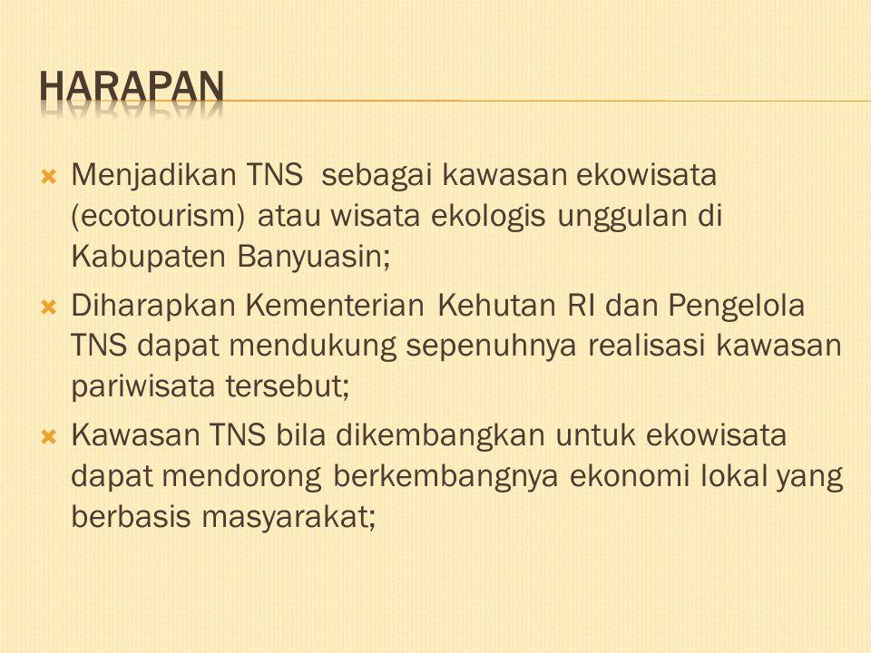  Menjadikan TNS sebagai kawasan ekowisata (ecotourism) atau wisata ekologis unggulan di Kabupaten Banyuasin;  Diharapkan Kementerian Kehutan RI dan