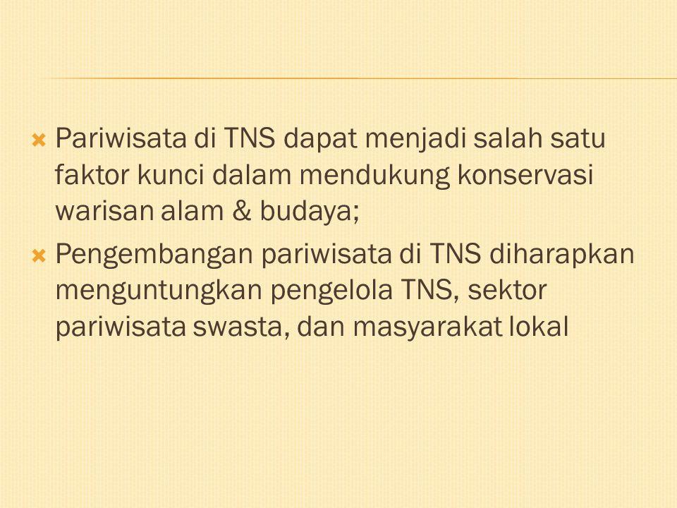  Pariwisata di TNS dapat menjadi salah satu faktor kunci dalam mendukung konservasi warisan alam & budaya;  Pengembangan pariwisata di TNS diharapka