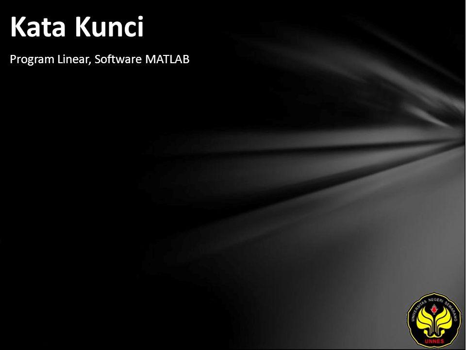 Kata Kunci Program Linear, Software MATLAB