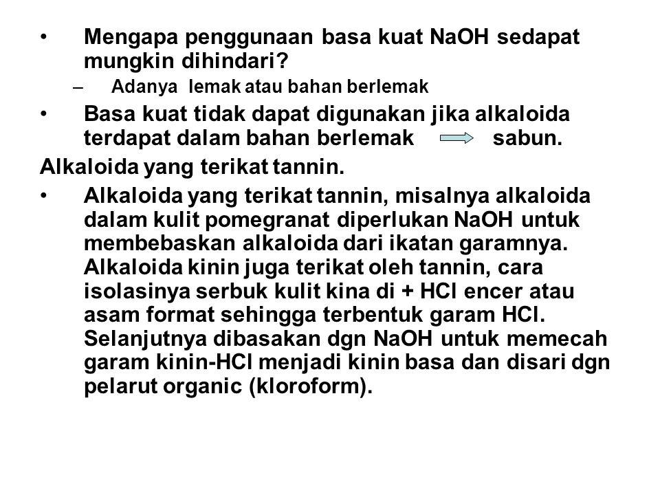 Mengapa penggunaan basa kuat NaOH sedapat mungkin dihindari? –Adanya lemak atau bahan berlemak Basa kuat tidak dapat digunakan jika alkaloida terdapat