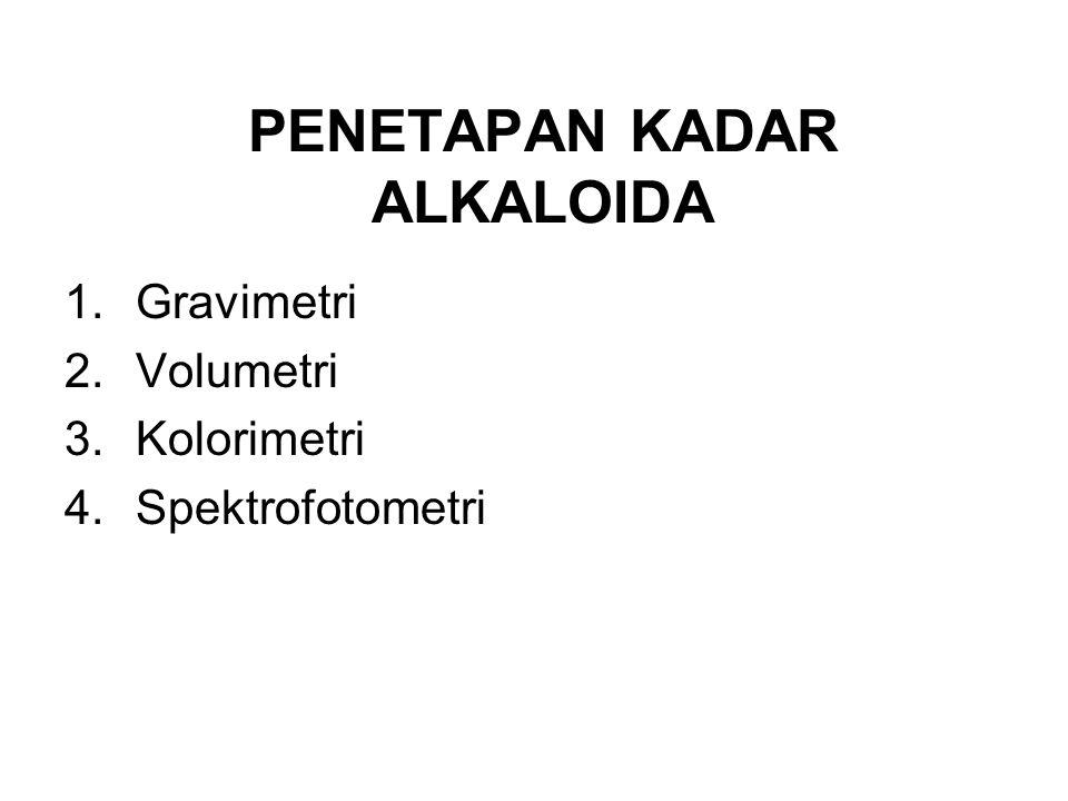 PENETAPAN KADAR ALKALOIDA 1.Gravimetri 2.Volumetri 3.Kolorimetri 4.Spektrofotometri