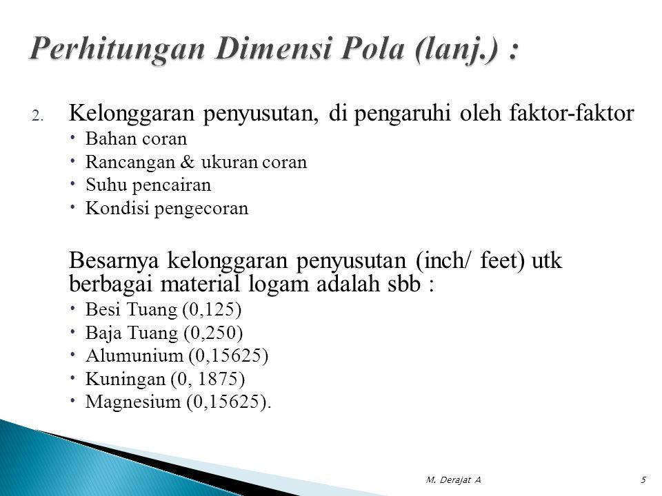 2. Kelonggaran penyusutan, di pengaruhi oleh faktor-faktor  Bahan coran  Rancangan & ukuran coran  Suhu pencairan  Kondisi pengecoran Besarnya kel