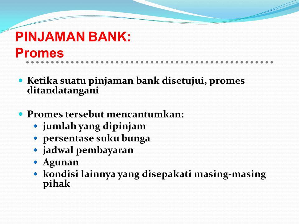 PINJAMAN BANK: Promes Ketika suatu pinjaman bank disetujui, promes ditandatangani Promes tersebut mencantumkan: jumlah yang dipinjam persentase suku b