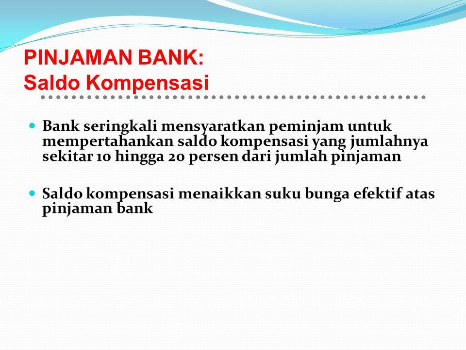 PINJAMAN BANK: Saldo Kompensasi Bank seringkali mensyaratkan peminjam untuk mempertahankan saldo kompensasi yang jumlahnya sekitar 10 hingga 20 persen