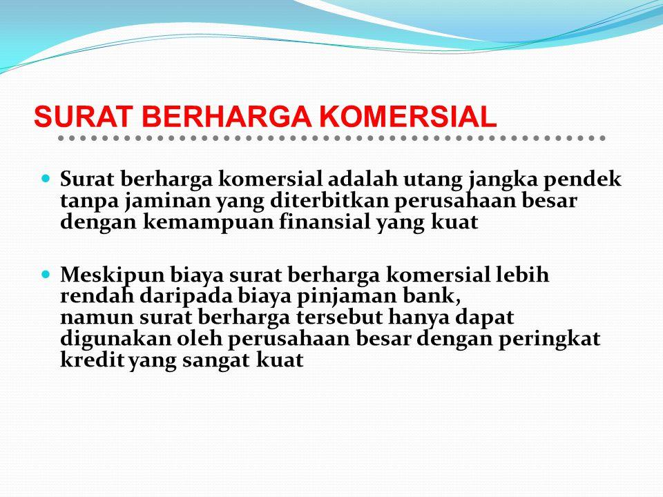 SURAT BERHARGA KOMERSIAL Surat berharga komersial adalah utang jangka pendek tanpa jaminan yang diterbitkan perusahaan besar dengan kemampuan finansia