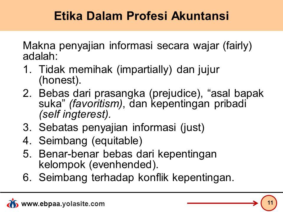 www.ebpaa.yolasite.com Etika Dalam Profesi Akuntansi Makna penyajian informasi secara wajar (fairly) adalah: 1.Tidak memihak (impartially) dan jujur (