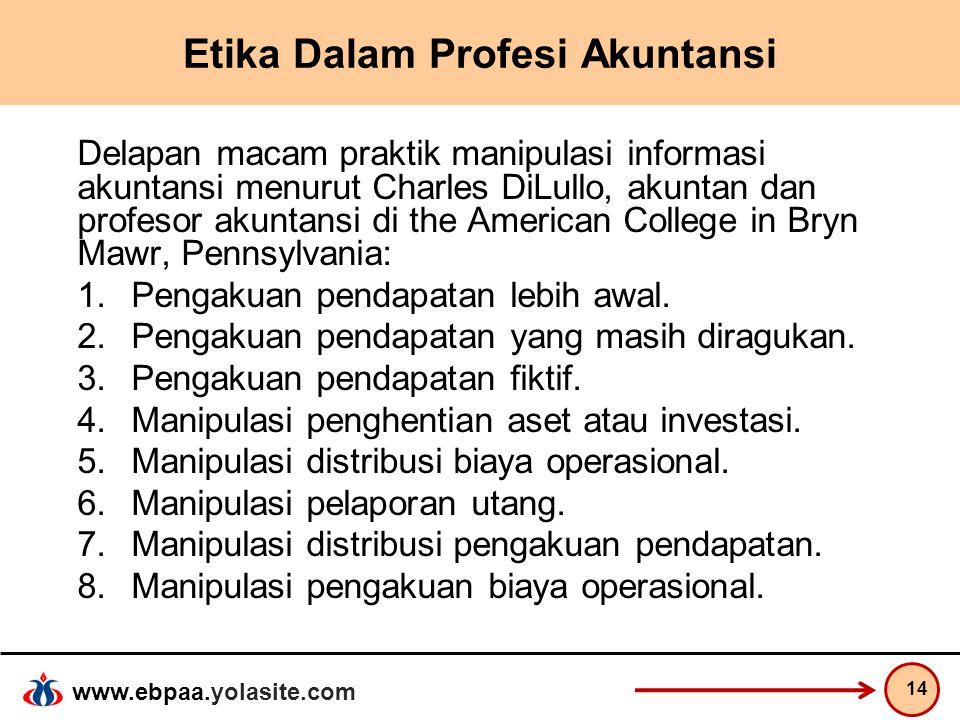 www.ebpaa.yolasite.com Etika Dalam Profesi Akuntansi Delapan macam praktik manipulasi informasi akuntansi menurut Charles DiLullo, akuntan dan profeso