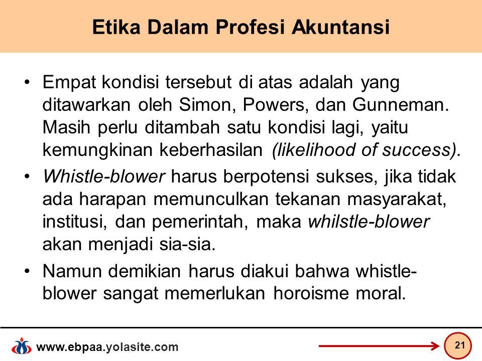 www.ebpaa.yolasite.com Etika Dalam Profesi Akuntansi Empat kondisi tersebut di atas adalah yang ditawarkan oleh Simon, Powers, dan Gunneman. Masih per