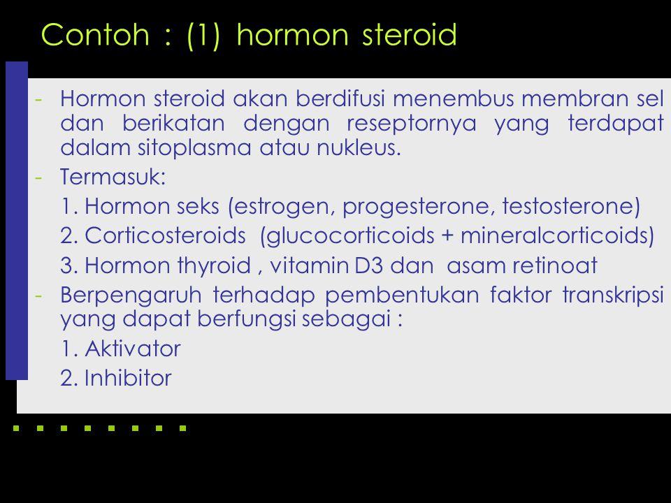 Contoh : (1) hormon steroid -Hormon steroid akan berdifusi menembus membran sel dan berikatan dengan reseptornya yang terdapat dalam sitoplasma atau n