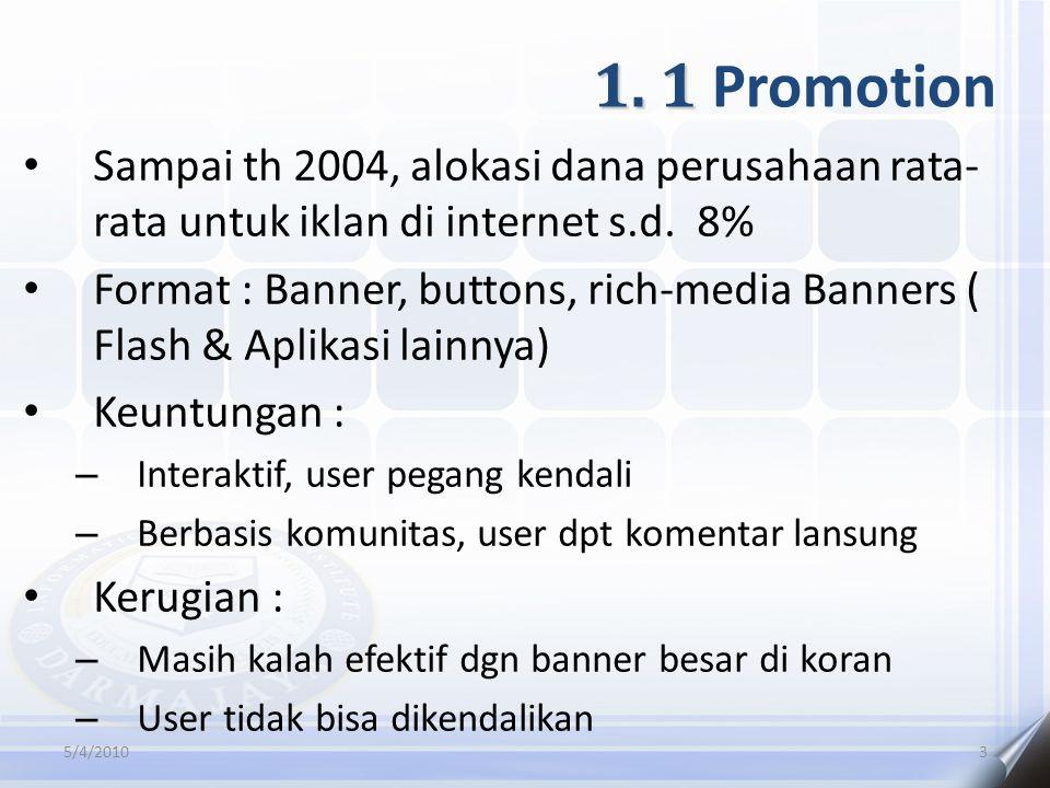 1.1 1. 1 Promotion Sampai th 2004, alokasi dana perusahaan rata- rata untuk iklan di internet s.d.