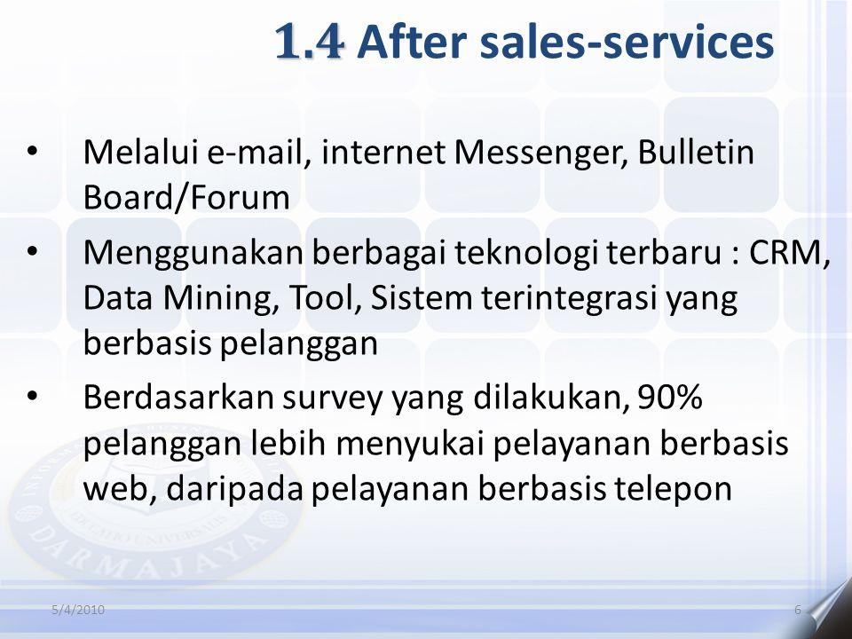 1.4 1.4 After sales-services Melalui e-mail, internet Messenger, Bulletin Board/Forum Menggunakan berbagai teknologi terbaru : CRM, Data Mining, Tool, Sistem terintegrasi yang berbasis pelanggan Berdasarkan survey yang dilakukan, 90% pelanggan lebih menyukai pelayanan berbasis web, daripada pelayanan berbasis telepon 5/4/20106