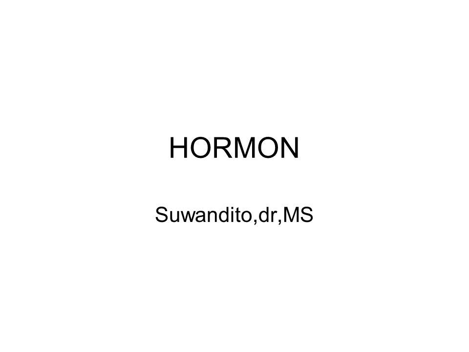 Hormon : Suatu chemical messenger yg dikirim dari suatu bagian tubuh ke bagian tubuh yg lain Dibentuk oleh kelenjar endokrin Mengkoordinasikan fungsi biokimiawi tubuh dengan cara mempengaruhi organ sasaran Bersama sistem saraf mengkoordinasikan fungsi bagian-bagian tubuh