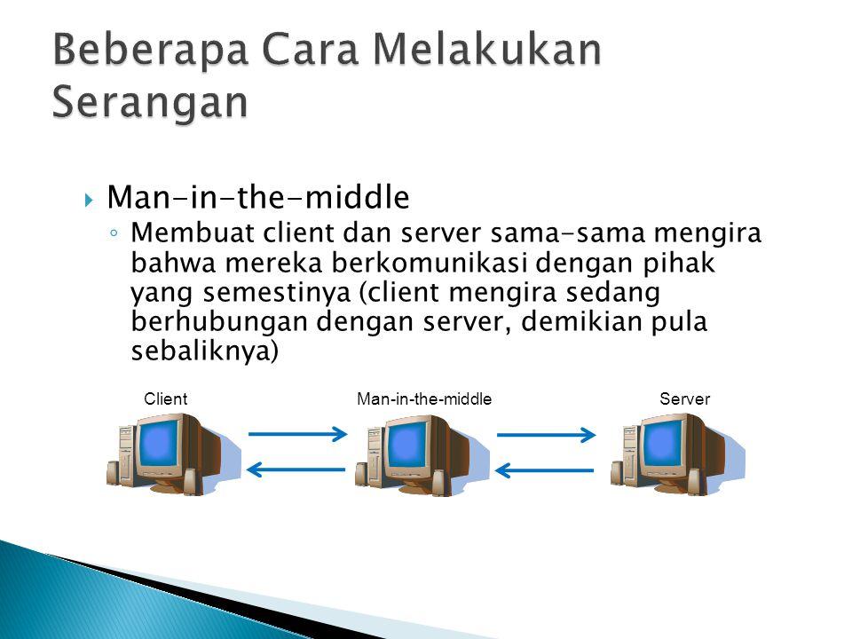  Man-in-the-middle ◦ Membuat client dan server sama-sama mengira bahwa mereka berkomunikasi dengan pihak yang semestinya (client mengira sedang berhu