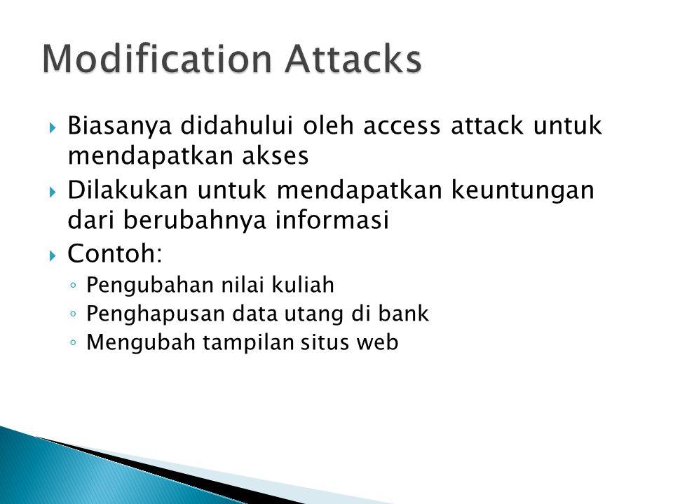  Biasanya didahului oleh access attack untuk mendapatkan akses  Dilakukan untuk mendapatkan keuntungan dari berubahnya informasi  Contoh: ◦ Penguba