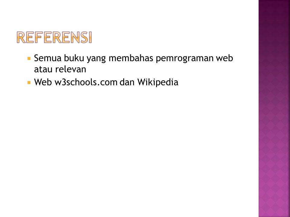  Semua buku yang membahas pemrograman web atau relevan  Web w3schools.com dan Wikipedia
