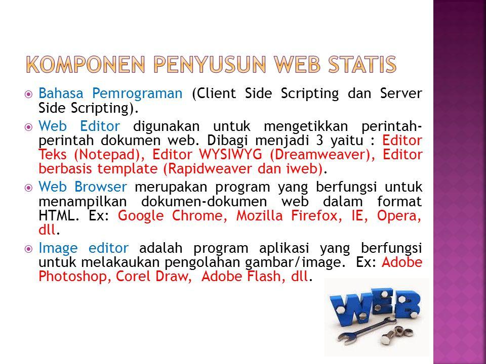  Bahasa Pemrograman (Client Side Scripting dan Server Side Scripting).  Web Editor digunakan untuk mengetikkan perintah- perintah dokumen web. Dibag