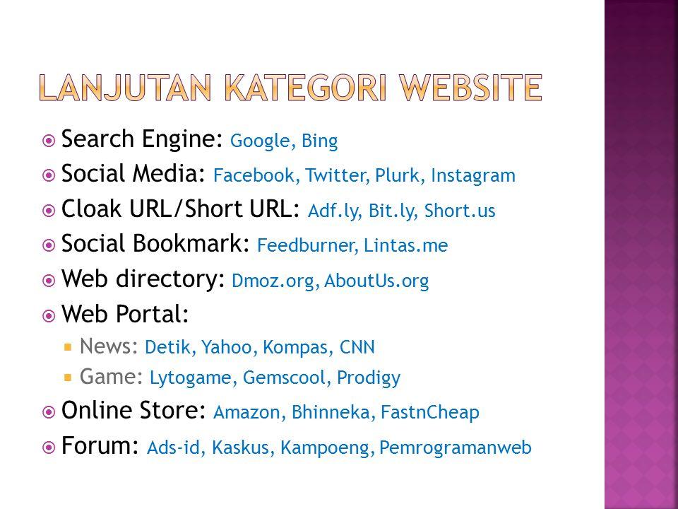  Search Engine: Google, Bing  Social Media: Facebook, Twitter, Plurk, Instagram  Cloak URL/Short URL: Adf.ly, Bit.ly, Short.us  Social Bookmark: F