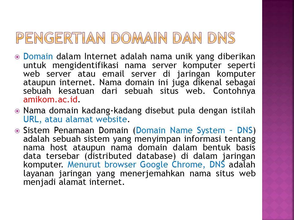  Domain dalam Internet adalah nama unik yang diberikan untuk mengidentifikasi nama server komputer seperti web server atau email server di jaringan k